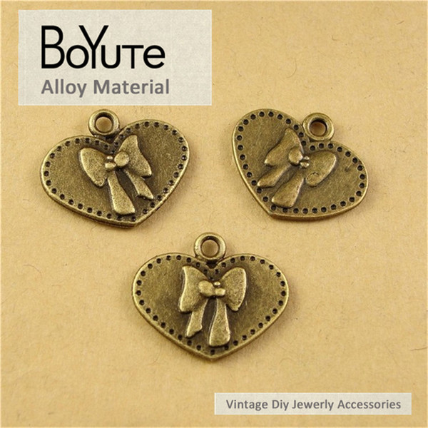 BoYuTe (100 Pieces /lot) 16*19MM Jewelry Accessories Parts Antique Bronze Plated Bowknot Pendant for Jewelry Making Diy Necklace Bracelets