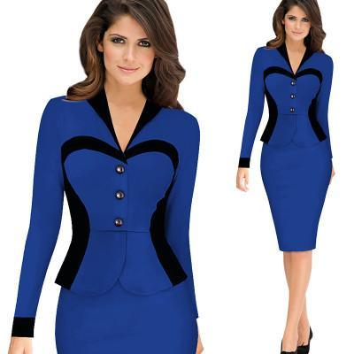 Manches longues à coudre à la taille de la mode hivernale pour femmes superposées, robe extensible, jupe de style professionnel, style OL