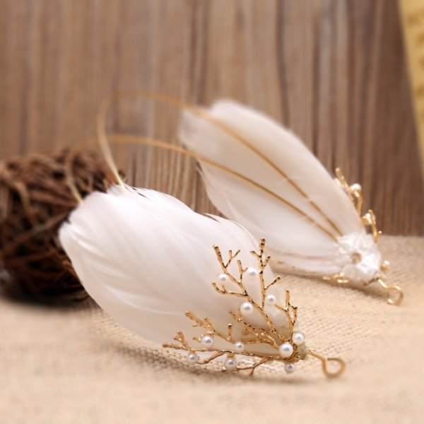 White Feather Headbands Headpiece Wedding Dress Accessories Jewelry Women Headdress Branches Hair Ornaments Crowns and Tiaras
