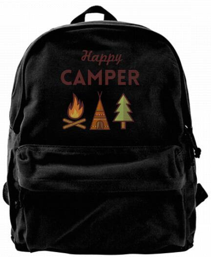Happy Camper Canvas Shoulder Backpack Cute Backpack For Men & Women Teens College Travel Daypack Design handbag Black