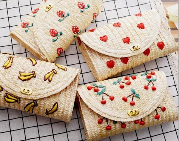 New 2018 Summer Mori Girl Lovely Mini Shoulder Bags Straw Knitting bag Clutches Women Simple Fruit Messenger Bag For Ladies