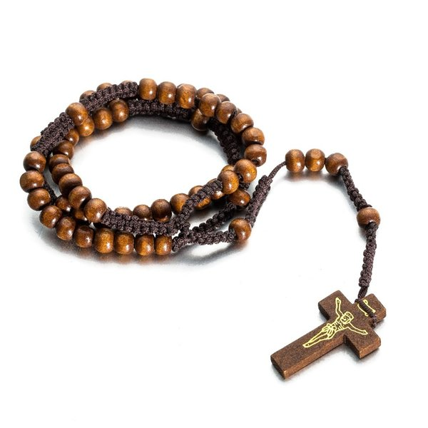 Classic hand-woven Wooden Pray rosary crucifix cross beads necklace Jesus jewelry gifts Factory Price 5 pcs Order Wholesale