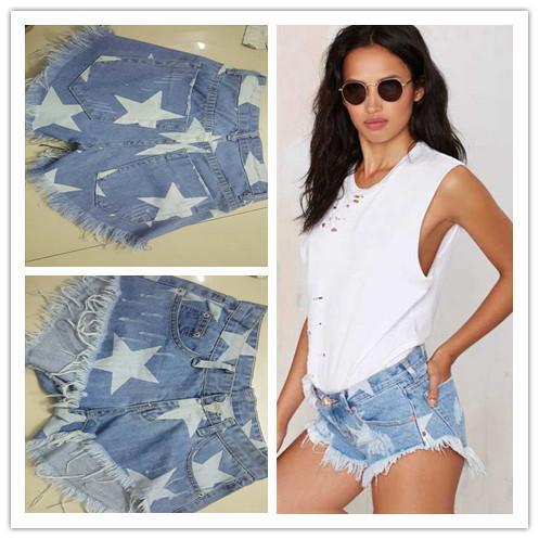 Blue Women Sandy Beach On Vacation Light Color Suit-dress Denim Tight Stars Printing Tassels Cowboy Super Shorts