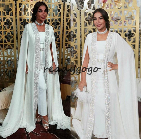 Moroccan Caftan Prom Formal Jumpsuit with Crystal Cape 2019 Modest Jewel Full length Kaftan Dubai Abaya Arabic Occasion Evening Gown