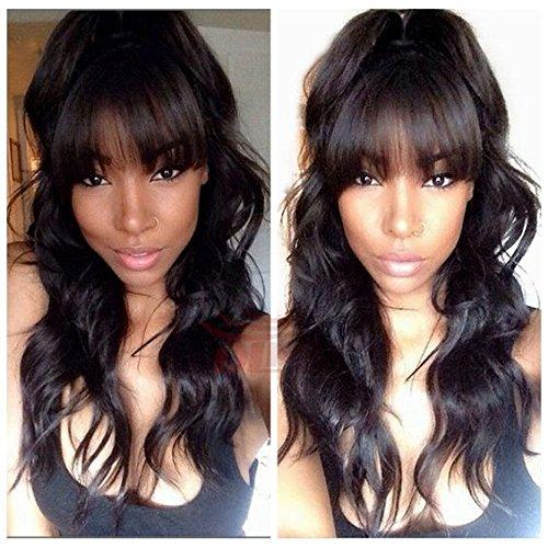 Wet and wavy Malaysian Virgin Human Hair Glueless Full lace Wig Front Lace Wig 130%density With Straight Bangs DHL Free Shipping