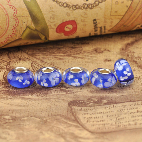 Pan pei duo la Bead Hot Products Patterned Resin DIY Big Hole Beads Trade Jewelry Wholesale 8*14mm Jewelry Glass Beads