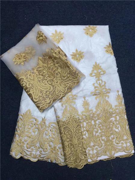 2018 neue Ankunft African Bazin Riche Getzner Spitze Stoff mit Stickerei, Französisch Tüll für Kleid afrikanische Tüll Stoff weiß