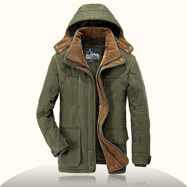 Großhandel Plus Size 6XL Marke Parka Herren Winterjacke Herren Warme Dicke Fleece AFS JEEP Militärjacke Baumwolle Gefütterte Jacke Herren Parka Mantel