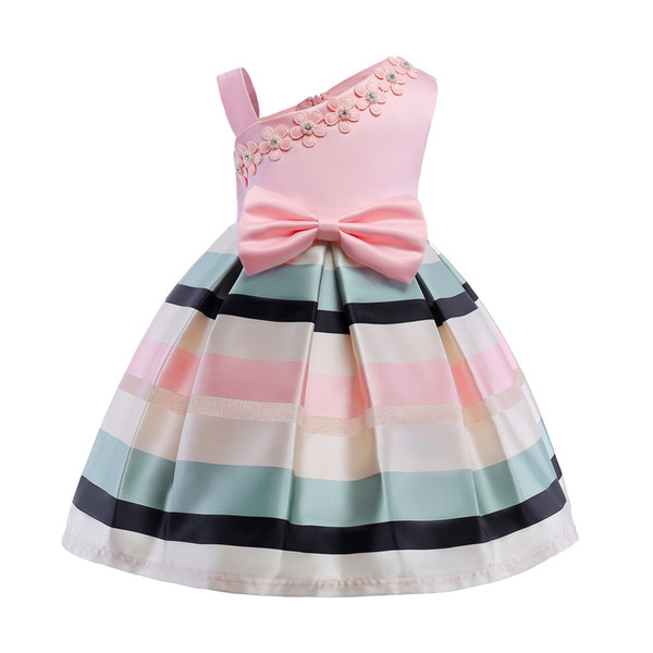 2018 Spring Children's tutu Dress for Girls Pearl Floret ball gowns Single Shoulder Strap Stripes Party Dresses Ball Gown