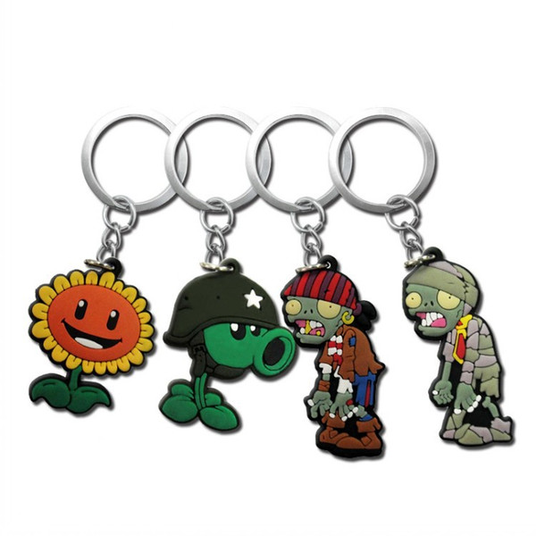 PVC Plants vs Zombies Key Rings DIY Cellphone Clothing Bags Decoraction Fashion Accessories Key Chain Kids Xmas Party Gifts