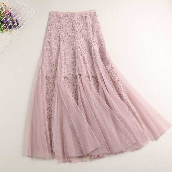 2f14edad79 maxi skirts for womens summer lace floral mesh pleated zipper high waist skirt  ladies Korean style