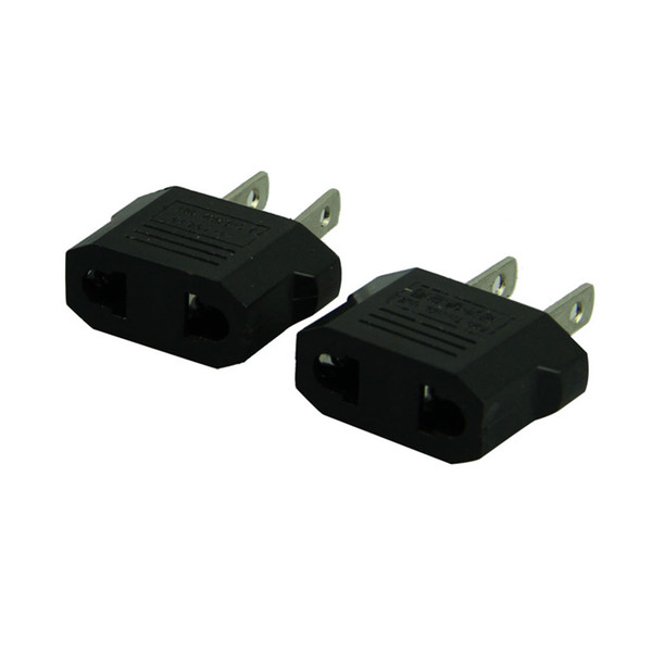best selling 500PCS FSHTI US to EU EU TO US Power Plug Converter Adapter Adaptor USA to European Black Plastic Travel Converter