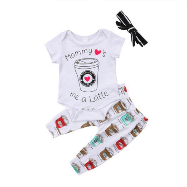Cute 3pcs Short Sleeve Clothes Newborn Baby Girls Boys Rompers Jumpsuit Print Pants Leggings Headband Outfits Set Clothing