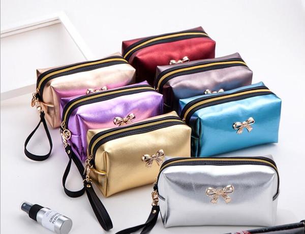 Manufacturer direct selling women's PU women's bag waterproof wash gargle receive portable hand bag mini beauty cosmetic bag horizontal styl