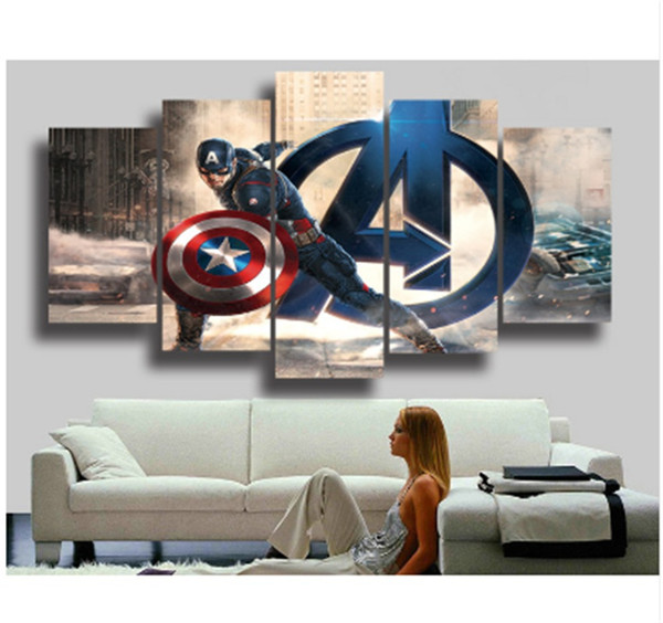 The Avengers Captain America,5 Pieces Canvas Prints Wall Art Oil Painting Home Decor (Unframed/Framed)