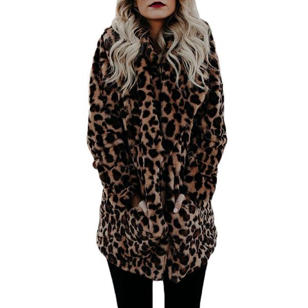 Frauen-Leopard-Druck-Pelz-Mäntel Winter-flaumiger Revers-Mantel-warme reizvolle lange geöffnete Stich-Weit-taillierte lose Oberbekleidung