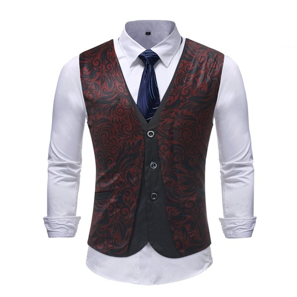 Wedding Waistcoats For Mens Baroque Gilet Costume Vintage Slim Fit Vests Flowers Printed Vest Mens Casual Red Suit Vests Men