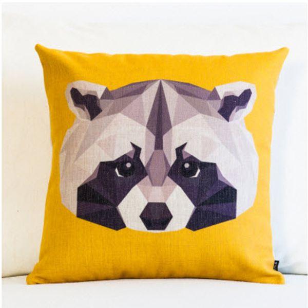 Wholesale-Geometry Cartoon Raccoon Throw Messager Decorative Vintage Nap Pillow Cover Fiber Flax Emoji Pillow Case Home Bar Kid Gift