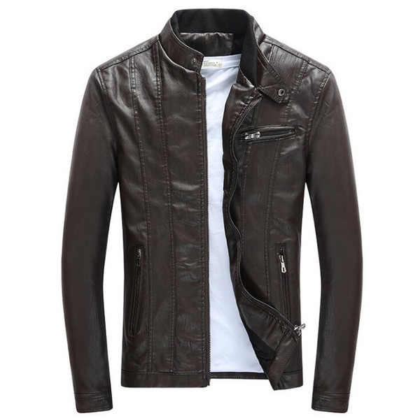 f968501052a Spring Autumn Mens PU Leather Jackets Stand Collar Coats Male Motorcycle  Slim Outerwear Mens Brand Clothing