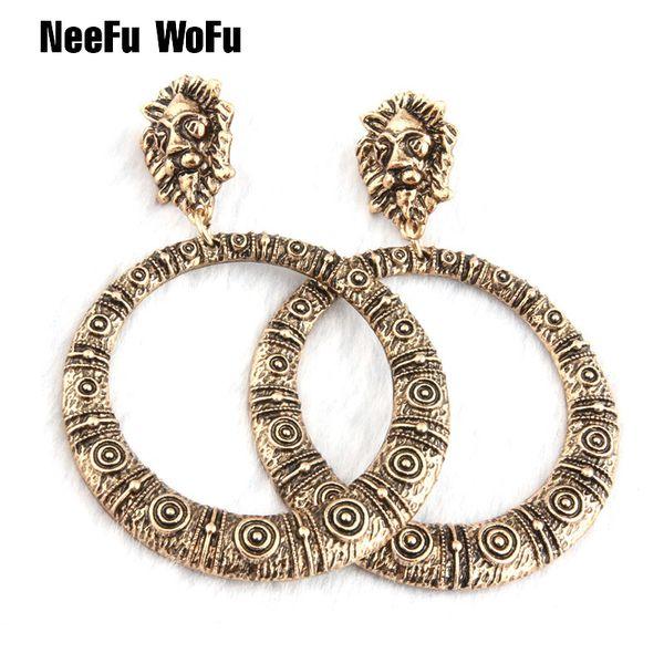 NeeFu WoFu 2018 New Drop Earrings Lion Head Earring Metal Retro Big Earring For Woman Large Long Brinco Ear Oorbellen Gift S914