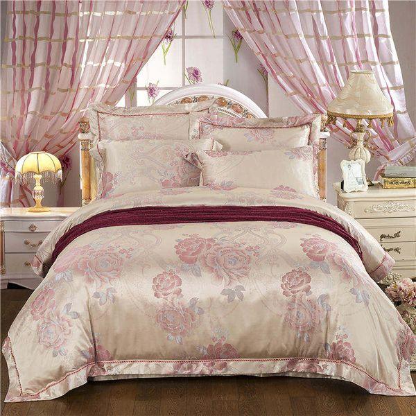 premium selection 4acef 22af5 European Bedding Set Queen Size Luxury Satin Golden Duvet Cover Jacquard  Floral Bedspread Adult Bed Linens Embroidery Home Decor Toddler Bedding  Sets ...