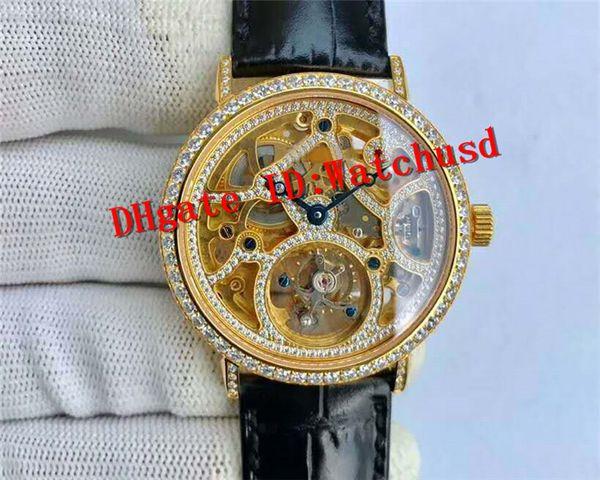 Luxury ALTIPLANO Hand-winding Real tourbillon Skeleton Movement Sapphire Crystal Full Diamond Dial Yellow Gold Case Leather Strap Men Watch