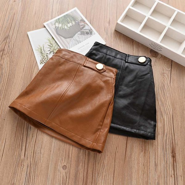 top popular Fashion Autumn Winter new Korean Girls Skirts Pu leather Children Skirt Boutique Girl Clothes kids shorts A-lineskirt kids clothing A1931 2021