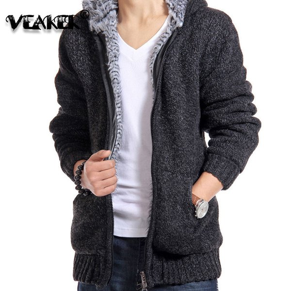 Mens 2018 New Thick Jacket Velvet Fur Sweaters Jackets Men Winter Knitted Hooded Coat Sweatershirt Casual Coats Parkas M-2XL