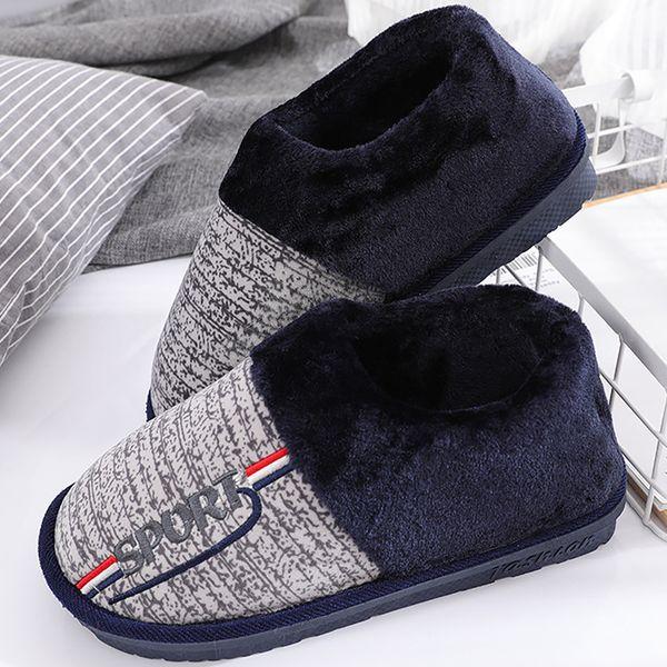 Big size 5.5-14 short plush winter slippers men hard-wearing non-slip soft rubber slippers flock warm male shoes