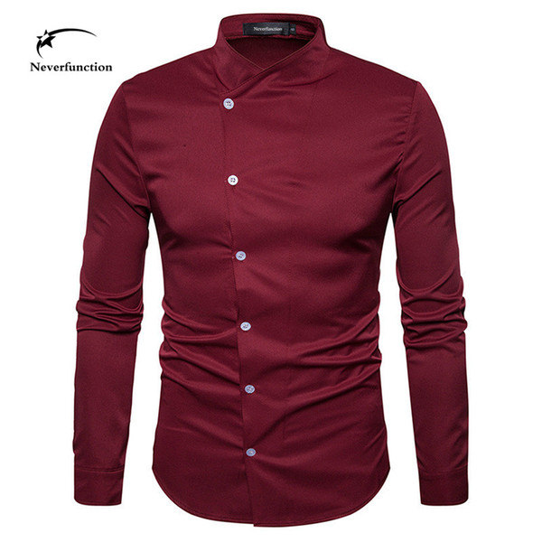 Personality fashion design oblique button men shirts Long Sleeve dress wedding party Slim Fit Henry collar shirt for men 4 color