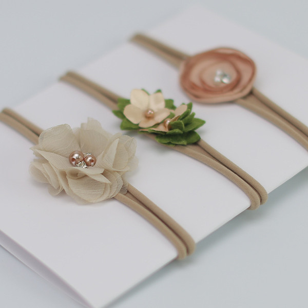 3pcs/set Baby Flower Headband White pearl Solid Color Girl Children Infant Baby Hairband Hair Accessories For Girls Princess Hairband 120001
