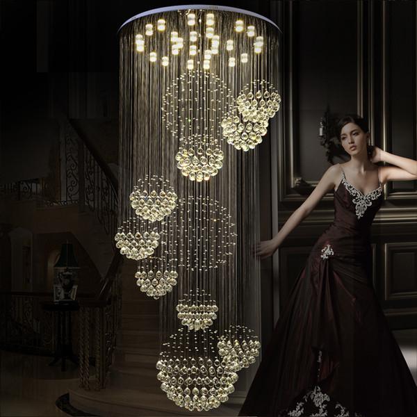 Modern Sarkıt Avizeler Kristal Merdiven Işığı Büyük Kristal Işık Kristal Tavan Işık Merdiven Merdiven Fuaye Tavan Lambası