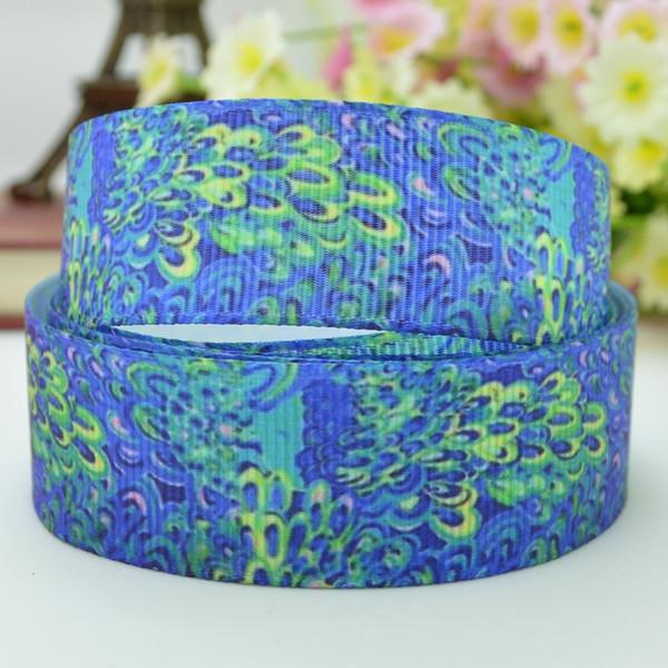 "Lilly Ribbons 7/8"" 22mm Flowers Printed Grosgrain Ribbon Hair Bow DIY Handmade Crafts Ribbon Print 50Yards"