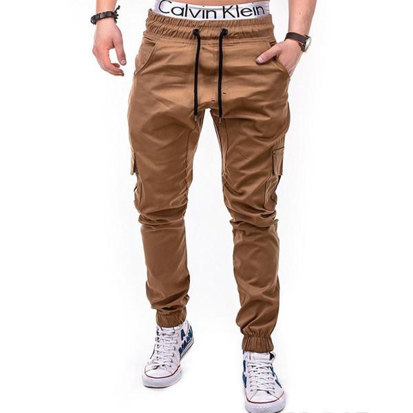 2018 Plain Pants Men Casual Chinos Pantalones Joggers Slim Fit Hombre Chinos Pantalones con elástico Cuff Brand Clothing Summer