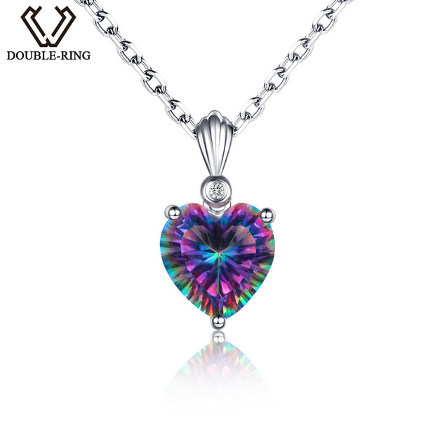 DOUBLE-R Rainbow Fire 3.2ct Created Mystic Topaz 925 sterling silver Heart Necklaces&Pendants for women