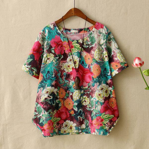 Mori Girls Womens Camiseta de manga corta Retro Style Floral Impreso Soft ComfortCoon Linen Tops Camiseta Femme Ropa suelta