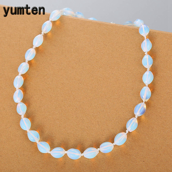 Yumten Opal Necklace Women Clavicle Chain Casual Party Jewelry Round Short Bijoux Rope Chain Clear Crystal Bead Anime Gift