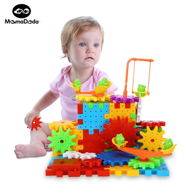 81 Pieces Electric Magic Gears Building Blocks Kits Plastic Bricks Educational Toys For Children Kids Toy Christmas Gifts