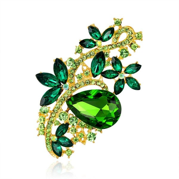 3 inch Gold Plating Long Flower Shaped Green Rhinestone Brooches for Wedding Women Clothing