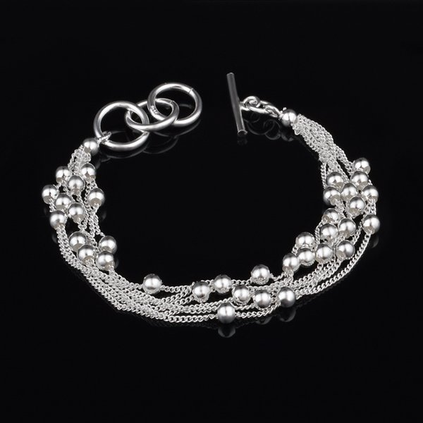Wholesales 925 Sterling Silver Multi Layers Beads Bracelets Stainless Steel Jewelry Mens Chain Bangles Luxury Jewelry Braccialetto as Gifts
