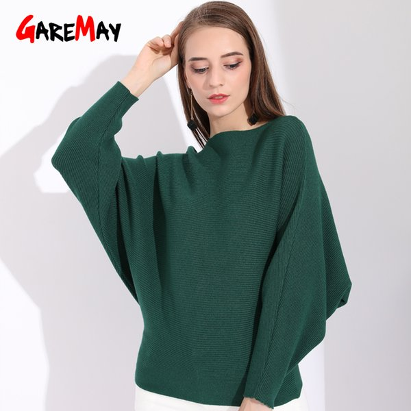 Winter Batwing Sweater Female Bat Jersey Oversized Sweater Women Oversize Slash Neck Autumn Women Knitted Sweaters Ladies Green