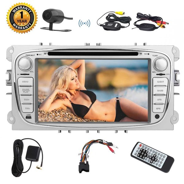 Wireless Camera For Ford Focus 7'' Car DVD Stereo Android 7.1 Double Din in Dash 1080P Video Octa-Core GPS Navigation Wifi Bluetooth