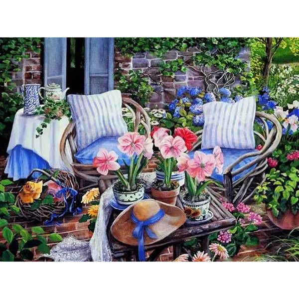 Frameless Picture Diy Painting By Numbers Garden Flowers Modern Wall Art Handpainted Oil Painting For Home Decor 40x50