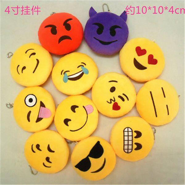MIX STYLE Emoji keychain toys for kids round straps bag emoji keychains emoji Stuffed Plush Doll Toy keyrings for Bag Pendant K0388