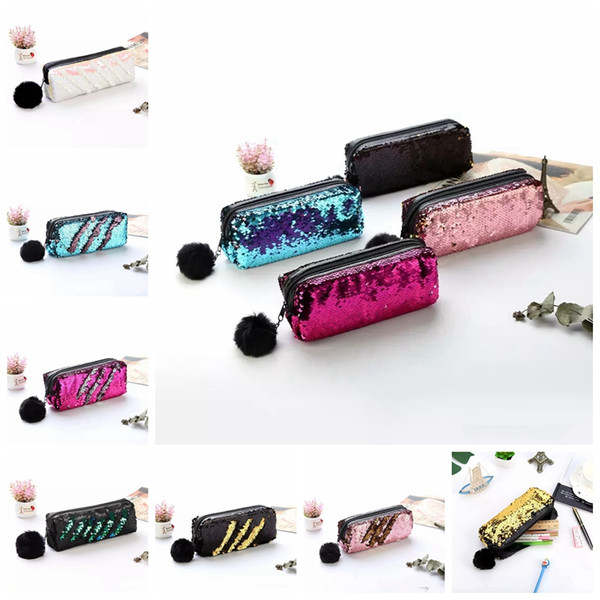 Love Sequin Pencil Pen Makeup Storage Bags Fashion Cute Mermaid Sequin Fur Ball Cosmetic Bags Cases Purse MMA919