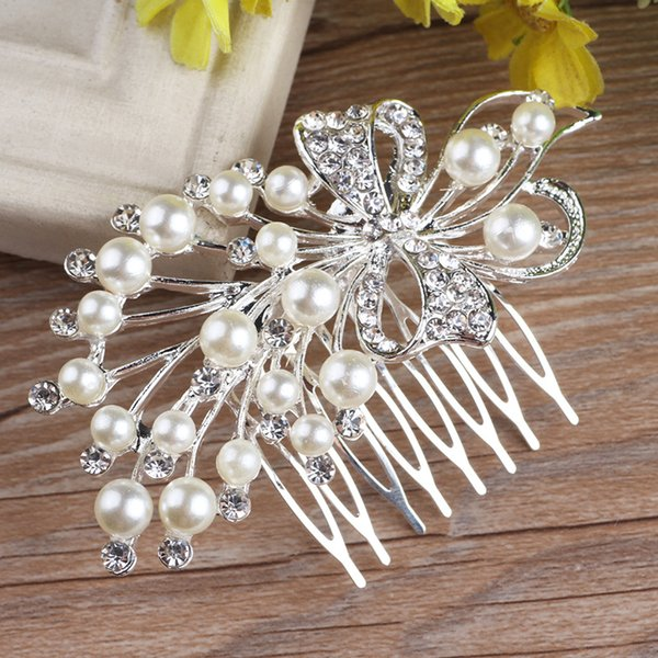2018 New Arrival High Quality Floral Pearl Crystal Comb Crown Tiara Bridal Headpiece Wedding Hair Accessories Free Shipping Ready to Ship