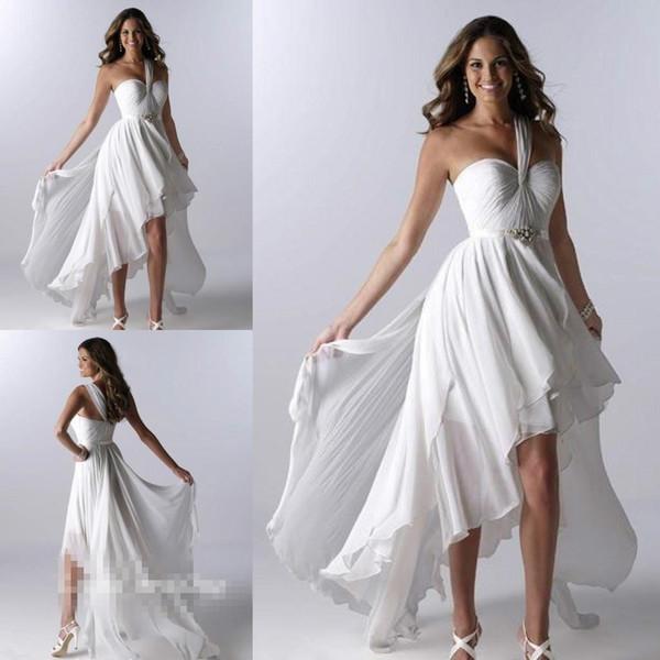 Strand kurze Brautkleider Asymmetrische Short Front Long Back High Low One Shoulder Rüschen Chiffon Sexy Sommer Brautkleider