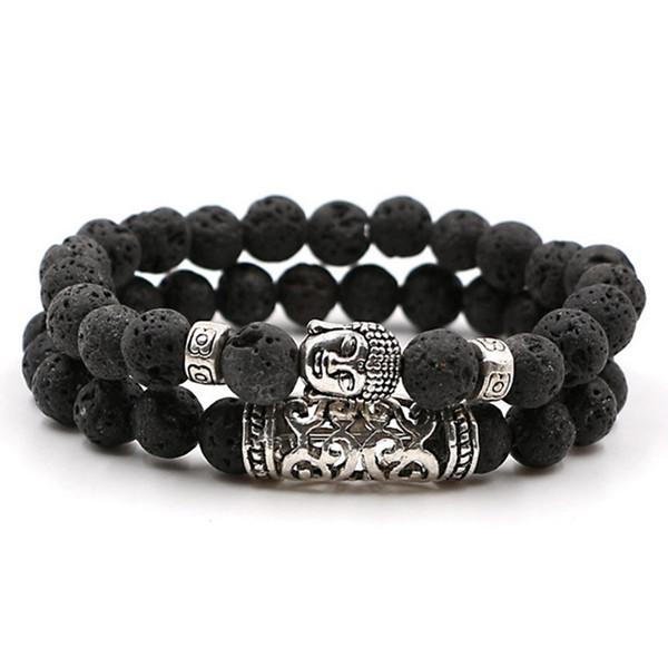 2pcs ensemble hommes femme perle bracelet perles de pierre de lave noir perles de prière bracelet de Bouddha pour les femmes et les hommes Pulseras Masculina