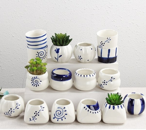 Nuevas macetas de plantas suculentas moda decorativa Simple blanco Mini macetas de cerámica pintadas a mano decoración de escritorio en el hogar W7294
