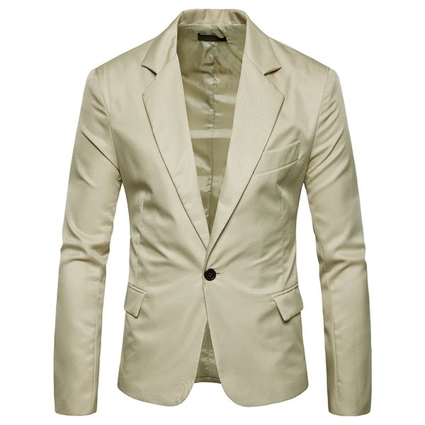 Korean Solid Men Casual Blazers et vestes Slim Office Jacket Nouveau Blazer Designer Mens Breasted